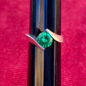 Vintage sterling and simulated emerald ring